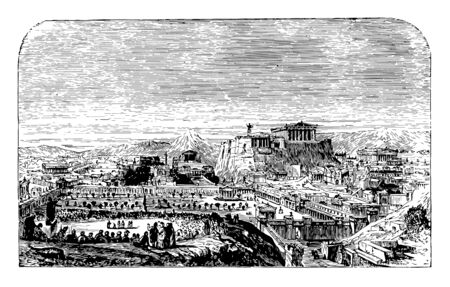Athens restored from the Pnyx briefly restored the Parthenon Acropolis of Athens schedule of its opening hours tickets and contact information vintage line drawing or engraving illustration.  Ilustração