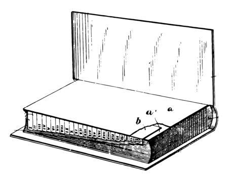 Index Device for Books, list of words, phrases, associated points,  names of people, places, events,  concepts, book, catalog,  library, reader, vintage line drawing or engraving illustration.
