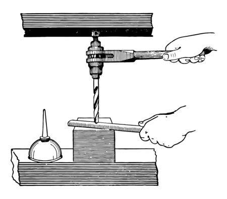 This illustration represents Ratchet Drill which is a portable hand drill vintage line drawing or engraving illustration.