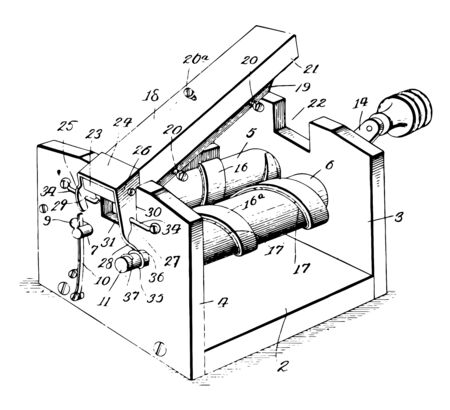 This illustration represents Razor Stropper which is used to sharpen vintage line drawing or engraving illustration.