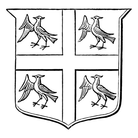 Arms of the Heralds College for the office that regulates heraldry vintage line drawing or engraving illustration.