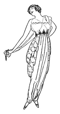 Early 20th Century Dress is fitted at the waist with a triangular pattern all around the waist vintage line drawing or engraving illustration.