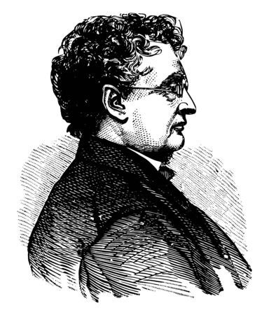 John A. Andrew 1818 to 1867 he was 25th governor of Massachusetts from 1861 to 1866 he was also an American lawyer vintage line drawing or engraving illustration Vektoros illusztráció