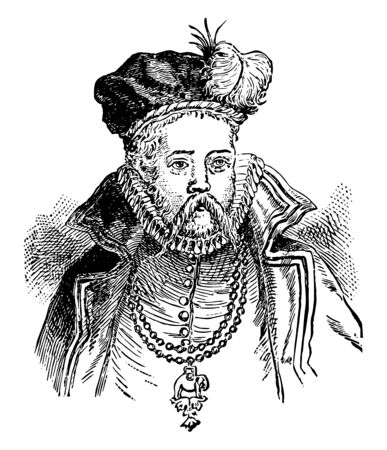 Tycho Brache, 1546-1601, he was a Danish nobleman, famous for his accurate and comprehensive astronomical and planetary observations, vintage line drawing or engraving illustration