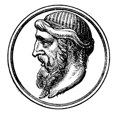 Plato he was a philosopher in classical Greece and the founder of the academy in Athens vintage line drawing or engraving illustration Vettoriali