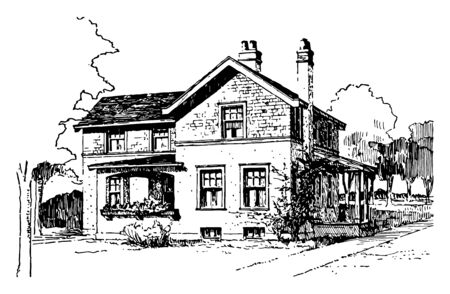 House of Shingles and Plaster design It is the covering on the uppermost part of a building vintage line drawing or engraving Illustration
