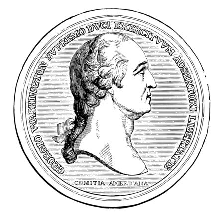 After American Revolution Congress has commissioned gold medals as its highest expression of national appreciation for distinguished achievements and contributions vintage line drawing or engraving illustration.