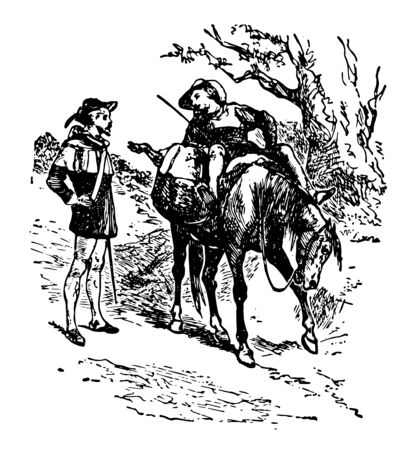 A man riding on horse talking to another man standing near horse vintage line drawing or engraving illustration