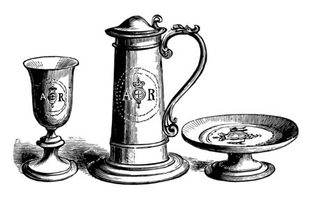 In this picture are shown English medieval silverwork. A shrine or bier containing the relics of saints adapted to be borne in religious processions vintage line drawing or engraving illustration.