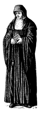 Benedictine Nun refers to the spirituality and consecrated life in accordance with the Rule of St Benedict vintage line drawing or engraving illustration. 版權商用圖片 - 133084687