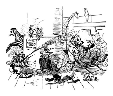 How The Animals Went To Sea this scene shows animals in human dresses some animals sitting on chairs some animals are smoking some animals are playing with water vintage line drawing or engraving illustration