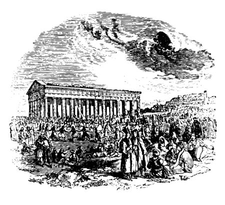 Ancient Athens View of Athens parts of central Athens eastern suburbs Mount Lycabettus The Zappeion Hall vintage line drawing or engraving illustration.