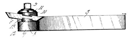 This illustration represents Lathe Tool which is used in lathe vintage line drawing or engraving illustration.