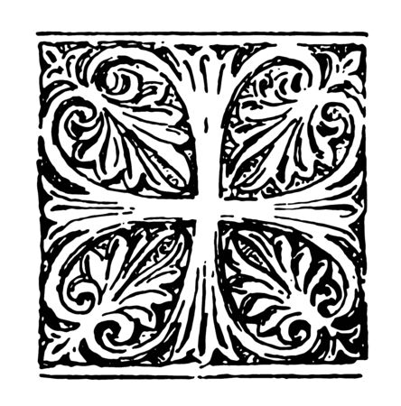 Anthemion is a Byzantine cross vintage line drawing or engraving illustration. Иллюстрация