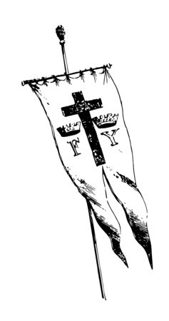 Banner of the expedition of Columbus banner has tow letters F and Y with crowns and holy cross inbetween banner has cut in the bottom vintage line drawing or engraving illustration Banque d'images - 132816388