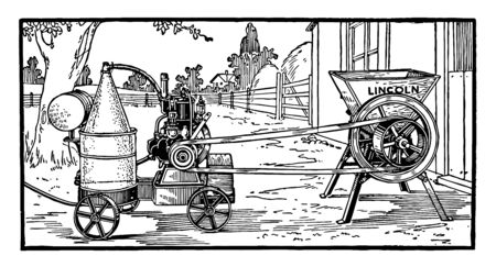 This illustration represents Portable Engine which is an engine either a steam engine or an internal combustion engine vintage line drawing or engraving illustration.
