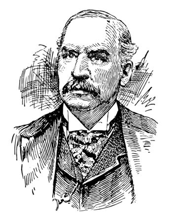 J. P. Morgan 1837 to 1913 he was an American financier and banker vintage line drawing or engraving illustration