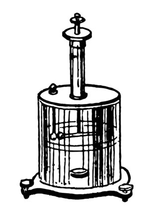 Coulombs torsion balance is in the shape of a cylinder with the pan inside vintage line drawing or engraving illustration.