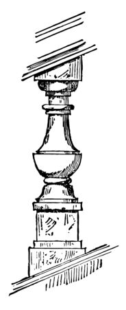 Baluster small upright member great variety railing vintage line drawing or engraving illustration.  イラスト・ベクター素材