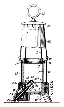 This illustration represents Miners Safety Lamp vintage line drawing or engraving illustration.