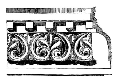 Anthemion Frieze Venice Byzantium Repeating Pattern fan to shaped leaves palm tree stylized lotus vintage line drawing or engraving illustration. Banque d'images - 133084710