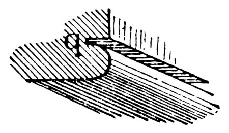 Quirk Molding to a reentrant angle trim piece narrow groove vintage line drawing or engraving illustration. Reklamní fotografie - 132816189