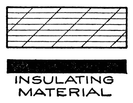 Mechanical Drawing Cross Hatching of Insulating Material is similar in both drawing and painting, two basic techniques for the creation of tone, vintage line drawing or engraving illustration.