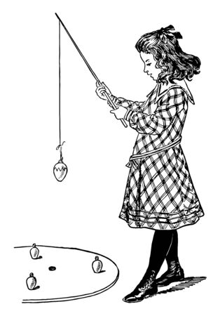 This is a game of Angling for Easter eggs. The endeavour of each player is to insert his hook through the ribbon loop on one of the eggs and lift it out of the ring vintage line drawing or engraving illustration. Reklamní fotografie - 133084717