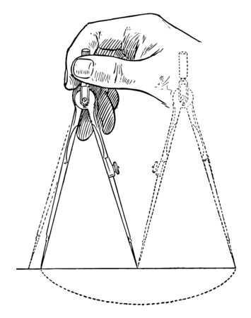 Bisecting Line Using Divider and estimating the leg, it is bisected by trial and error and given length into any number of sections, vintage line drawing or engraving illustration.