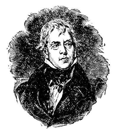Sir Walter Scott 1771 to 1832 he was a Scottish historical novelist playwright and poet vintage line drawing or engraving illustration Foto de archivo - 133084720