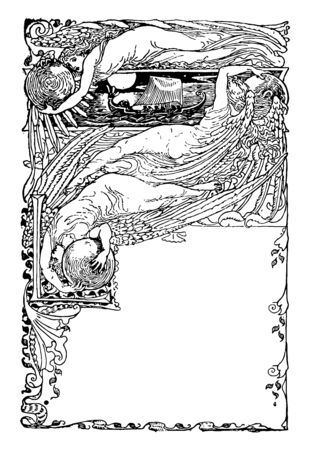 The Sirens Three is a fairy tale vintage line drawing or engraving illustration.