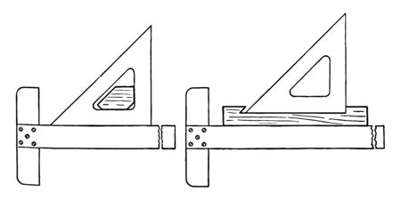 Section Lining Device by slipping a wooden block to hold the triangle is surface of lining was rough and uneven in the later vintage line drawing or engraving illustration.