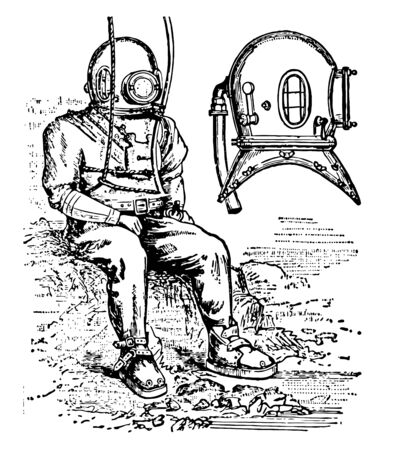 A diver in standard diving to dress and diving to helmet vintage line drawing or engraving illustration 向量圖像