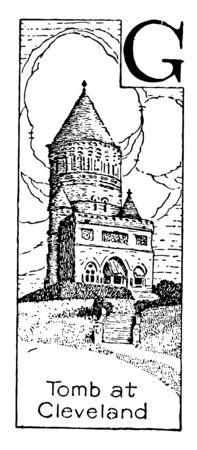 The picture shows the tomb of 20th US President James A. Garfield in Cleveland Ohio. It was built in 1881. The memorial is located at 12316 Euclid Avenue in Lake View Cemetery in Cleveland Ohio vintage line drawing or engraving illustration.