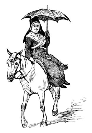 It seems like a woman is sitting on a Mule and is holding an umbrella, vintage line drawing or engraving illustration. Çizim