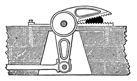 This illustration represents Alligator Squeezer which use only Alligator Jaws equipped with heavy duty bearings vintage line drawing or engraving illustration. Stock Illustratie