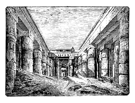 Temple of Chesnu at Karnak ancient chesnu columns Egypt Egyptian Ramses vintage line drawing or engraving illustration. Ilustracja