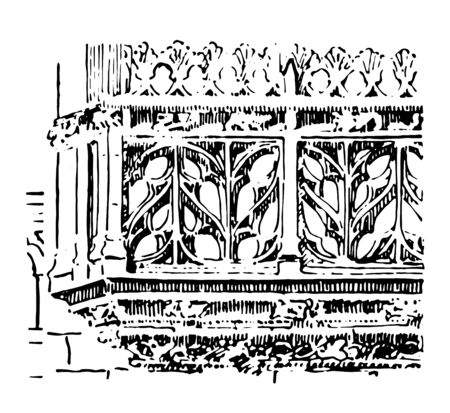 Balustrade Flamboyant balustrade Chateau of Josselyn Gothic Ornament ClipArt gallery vintage line drawing or engraving illustration.