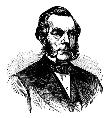 Edwin Dennison Morgan 1811 to 1883 he was the 21st governor of New York from 1859 to 1862 and United States senator from 1863 to 1869 vintage line drawing or engraving illustration Illustration