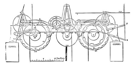 This illustration represents Quarter Clock where the wheels on the great horizontal bed vintage line drawing or engraving illustration.