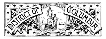 The banner of Washington District of Columbia this banner has circle in middle with two human figure an eagle and female holding a wreath in her right hand and stone tablet in her left hand vintage line drawing or engraving illustration