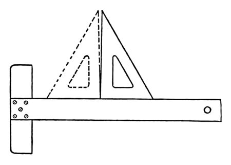 Triangle Accuracy Test using T to square by drawing a perpendicular line it is the lower edge resting on the T to square in position vintage line drawing or engraving illustration. Çizim