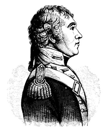 John Parker Boyd 1764 to 1830 he was an officer in the United States Army and American brigadier general in the war of 1812 vintage line drawing or engraving illustration