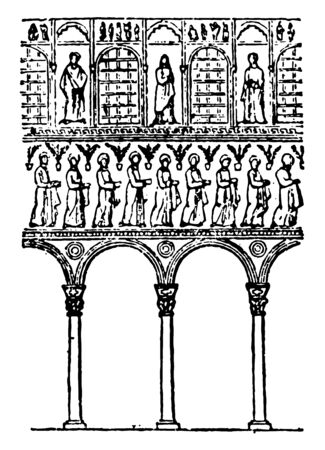 Arches of S. Apollinare Nuovo the upper edge of an open space as in a bridge or doorway such as a freestanding monument vintage line drawing or engraving illustration. Ilustracja