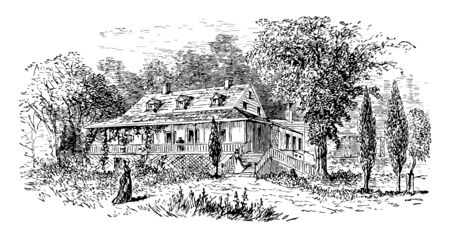 The image showcases the home which has a beautiful architecture. The home has a chimney and has a lot of greenery vintage line drawing or engraving illustration. 일러스트