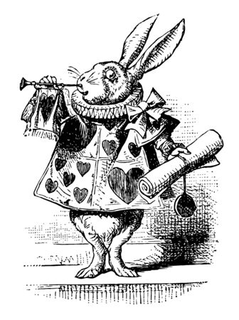 Alice in Wonderland this scene shows a rabbit in human dress with hearts print on it and holding scroll in one hand and playing trumpet vintage line drawing or engraving illustration