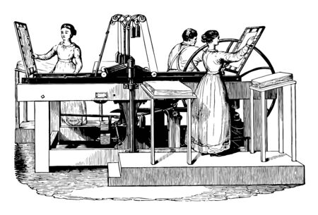 This illustration represents Treadwell Platen Printing Press vintage line drawing or engraving illustration.