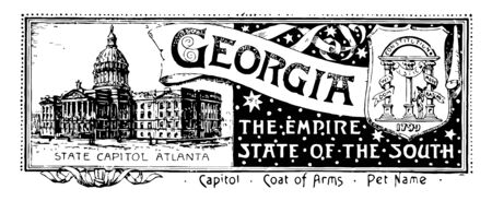 The state banner of Georgia the empire state of the south with state house and in left three coloumns and a man with sword in his right hand ribbon reads GEORGIA vintage line drawing or engraving illu
