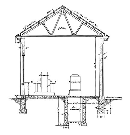Resident Sub Station Plan Section of a typical 1911 residential house, its structure for drafting, vintage line drawing or engraving.