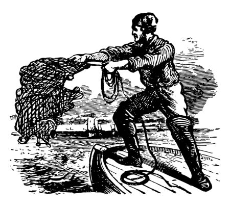 A man throwing cast net into water for fishing vintage line drawing or engraving illustration